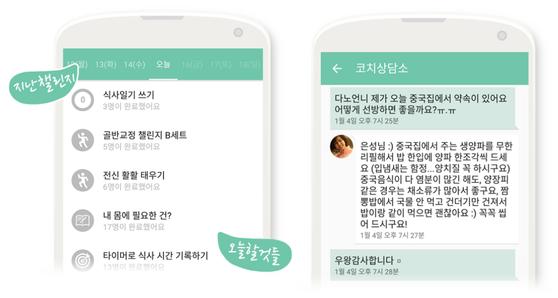 여성 전문 다이어트 코칭 앱 '마이다노'의 코치들이 관리해주는 모습 [사진 다노]
