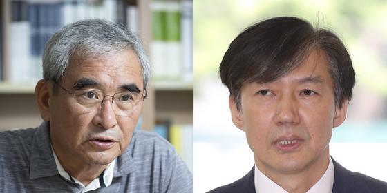 이영훈 전 서울대 교수(왼쪽)와 조국 법무부장관 후보자. [중앙포토]