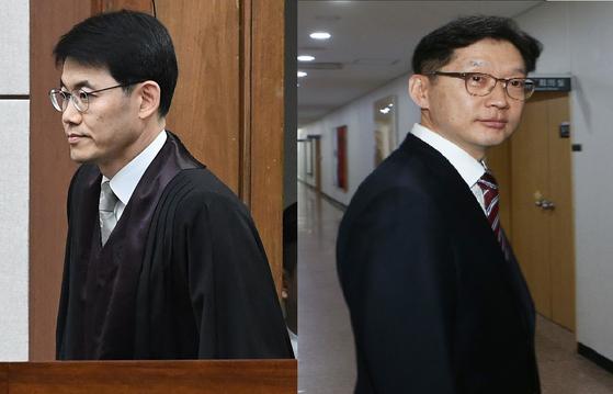 성창호 부장판사(왼쪽)와 김경수 경남지사. [중앙포토]