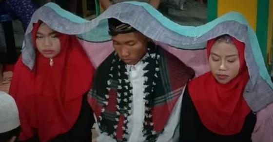 인도네시아의 한 남성이 한꺼번에 두 명의 신부와 결혼식을 올렸다. [사진 인스타그램 makassar_iinfo]
