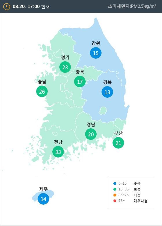 [8월 20일 PM2.5]  오후 5시 전국 초미세먼지 현황