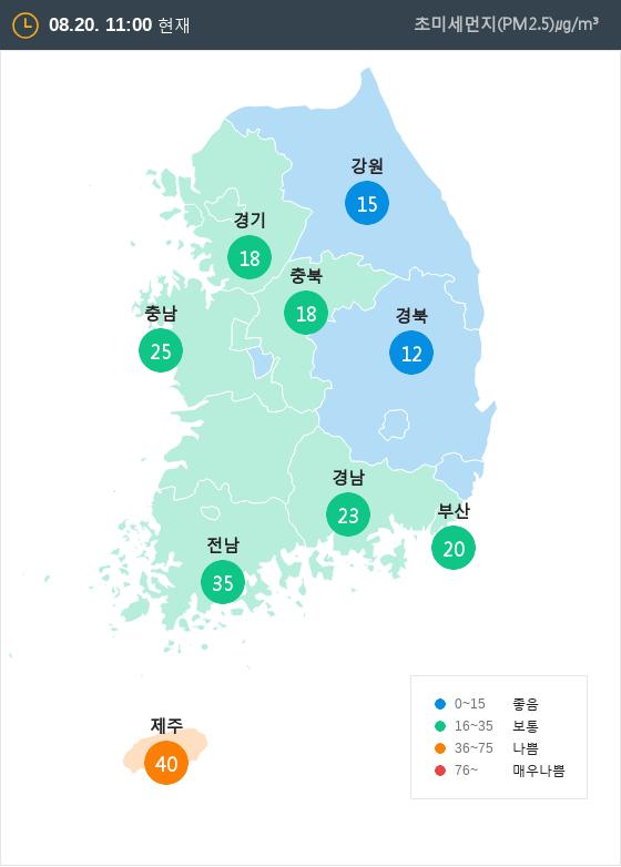 [8월 20일 PM2.5]  오전 11시 전국 초미세먼지 현황