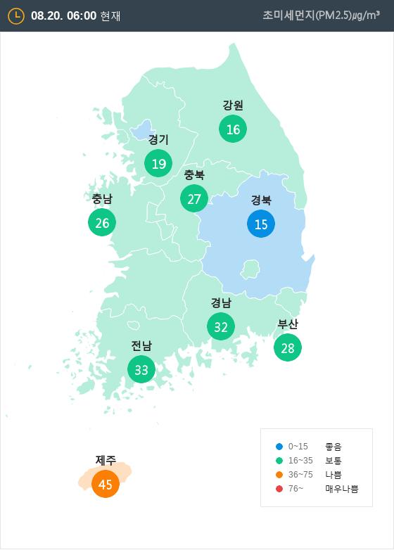 [8월 20일 PM2.5]  오전 6시 전국 초미세먼지 현황