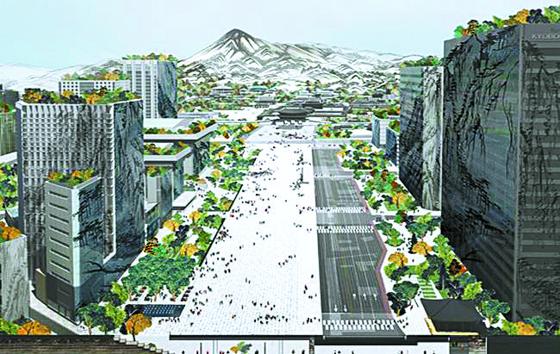 광화문광장 재구조화 국제설계공모전 당선작 'Deep Surface'(딥 서피스) 투시도. [연합뉴스]