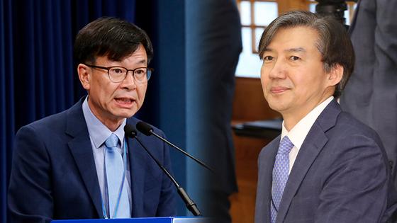 김상조 청와대 정책실장, 조국 법무부장관 후보자 [연합뉴스]