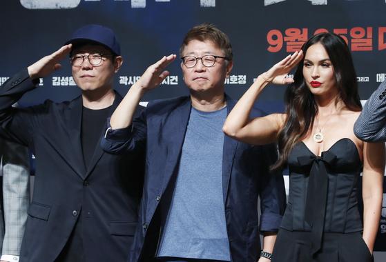 제작보고회에서 김태훈 감독(왼쪽부터), 곽경택 감독, 배우 메간 폭스. [뉴스1]