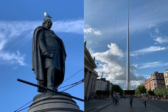 19세기 초반의 정치인 다니엘 오코넬 이름을 딴 더블린 시내의 오코넬 스트리트. 카톨릭 해방을 이루고 아일랜드 자치에 기여한 오코넬은 우리의 세종대왕만큼 아일랜드인에게 추앙받는 영웅(좌). 2003년 아일랜드가 GDP로 영국을 넘어선 경제성장을 이루고 진정한 독립을 기념하여 세운 120m 높이의 더블린 첨탑(우). [사진 박재희]
