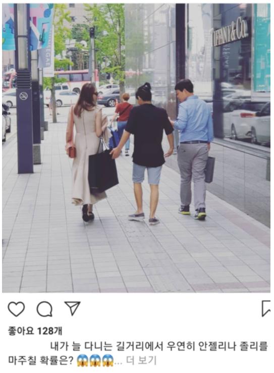 미 할리우드 배우 앤젤리나 졸리(44)가 장남 매덕스(18)의 연세대 입학 준비를 위해 지난 18일 방한한 가운데, 최근 신세계백화점 본점을 찾아 쇼핑을 했다. [사진 인스타그램 캡쳐]