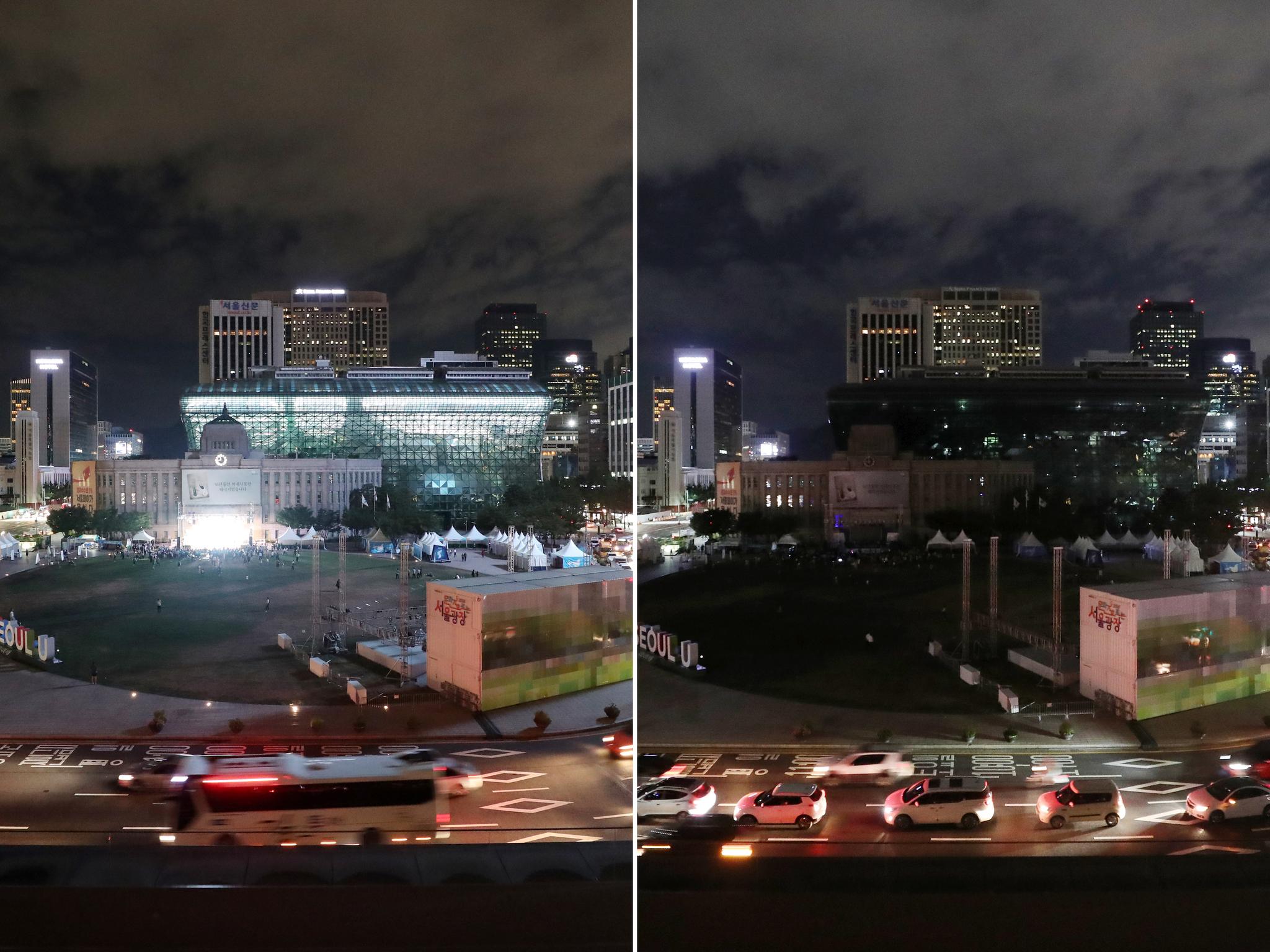 에너지의 날인 22일 밤 9시부터 5분 동안 전국적인 소등 캠페인이 펼쳐진다. 사진은 지난해 8월 22일 소등 전후의 서울시청과 일대 모습. [뉴스1]