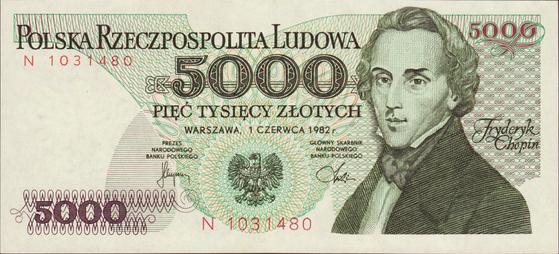 쇼팽을 그린 폴란드 지폐. 액면가는 5000 즈워티쉬(Zlotych). 1982년 발행. 폴란드 화폐는 1995년 만분의 일로 평가절하되었고, 이름은 즈워티(Zloty)로 바뀌었다. 위 지폐는 그 이듬해인 1996년까지 유통되었다. 현재 1 즈워티의 가치는 약 310원이다. 참고로 폴란드는 2004년 유럽연합에 가입했다. 하지만 유럽연합의 공식화폐, 유로(Euro)대신 자국화폐를 사용하고 있다.