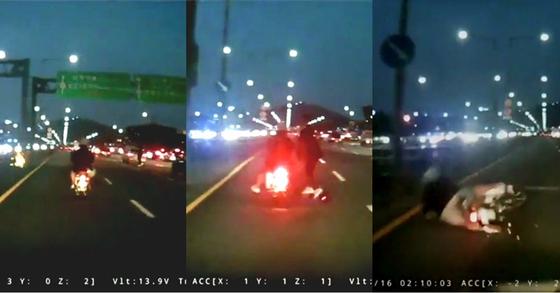 지난 5일 저녁 8시쯤 서울 한남대교에서 전동킥보드 운전자가 오토바이를 치고 그대로 달아나는 사건이 발생했다. [사진 온라인 커뮤니티 보배드림]