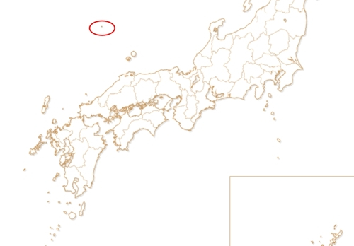 2020도쿄올림픽·패럴림픽 조직위원회 공식 사이트의 성화 봉송 경로 지도에 표시된 독도(붉은색 원). [조직위 사이트 캡처=연합뉴스]