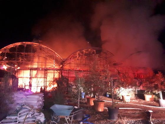 25일 오전 1시36분쯤 전남 장성군 삼서면에 위치한 앵무새 체험관인 정글주애바나나에서 불이 났다. [뉴스1]
