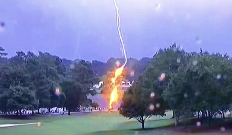 24일(현지시간) 오후 미국 조지아주 애틀랜타 이스트 레이크 골프클럽에서 열린 PGA투어 2018~2019시즌 페덱스컵 플레이오프 최종전 도중 벼락을 맞은 나무가 화염에 싸였다. 벼락이 떨어진 나무 주위에 있던 갤러리 6명이 부상당해 경기가 중단됐다. [사진 트위터 캡쳐]