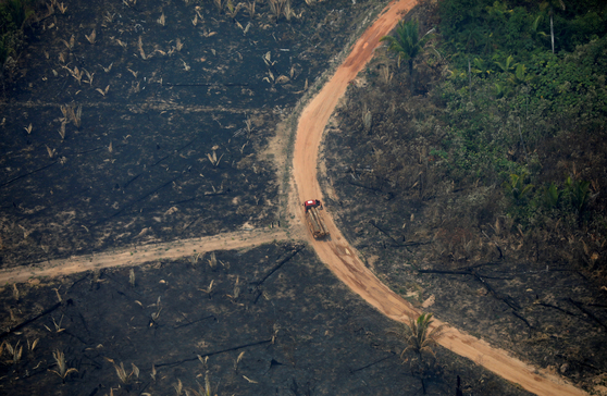 브라질 아마존 밀림 화재로 잿더밀 변한 도로에 목재를 실은 트럭이 25일(현지시간) 이동하고 있다. [로이터=연합뉴스]