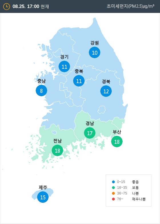 [8월 25일 PM2.5]  오후 5시 전국 초미세먼지 현황