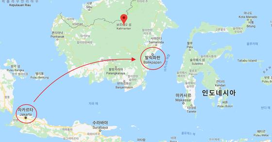 인도네시아가 자카르타에서 보르네오섬 동부로 수도를 이전하는 새 수도 건설 계획을 발표했다. [구글 맵 캡처]