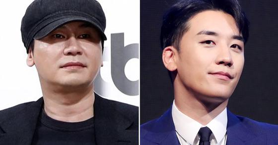 양현석 전 YG엔터테인먼트 대표, 아이돌 빅뱅 전 멤버 승리. [일간스포츠, 연합뉴스]