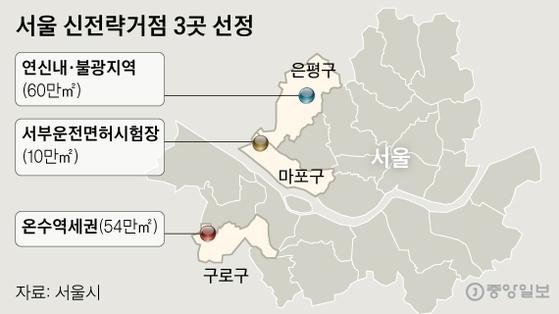 서울 신전략거점 3곳 선정. 그래픽=신재민 기자 shin.jaemin@joongang.co.kr
