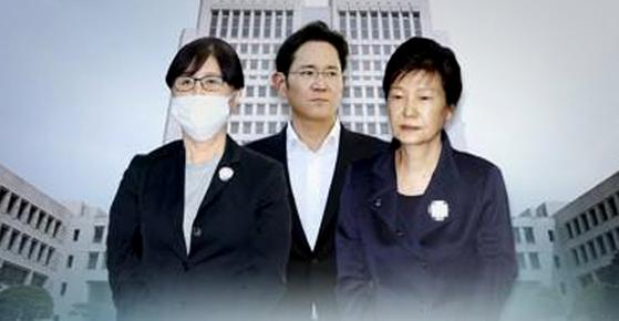 박근혜 전 대통령(오른쪽)과 최순실씨(왼쪽), 이재용 삼성 부회장(가운데)의 '국정농단' 사건에 대한 판결을 29일 선고했다. [연합뉴스]