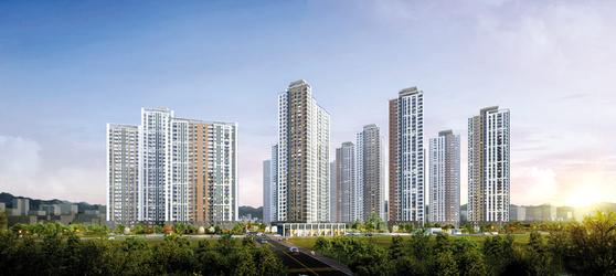 의정부 중앙생활권 2구역 재개발 아파트인 의정부역 센트럴자이&위브캐슬이 투자들로 북적이고 있다. 이미지는 의정부역 센트럴자이&위브캐슬 투시도.