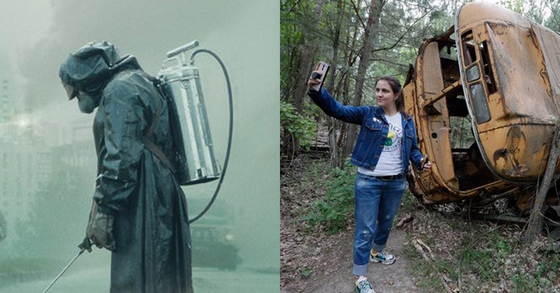 1986년 체르노빌 원전사고를 재연한 미국 드라마 '체르노빌'의 한 장면(왼쪽)과 2019년 체르노빌에 버려진 버스 앞에서 사진을 찍고 있는 관광객. [HBO 화면, EPA=연합뉴스]