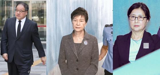 안종범 전 청와대 경제수석, 박근혜 전 대통령, 최순실씨 [중앙포토·연합뉴스]