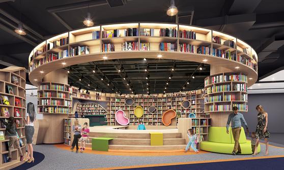 오는 5일 정식 개장하는 스타필드 시티 부천 중앙에 있는 랜드마크 '별마당 키즈'. 편안함을 느끼도록 원형의 어린이 도서관으로 꾸몄다. [사진 신세계]