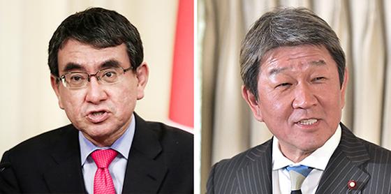 고노(左), 모테기(右). [연합뉴스,지지통신]