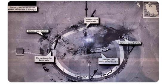 도널드 트럼프 미국 대통령이 30일(현지시간) 이란 우주센터의 로켓 발사대에서 로켓 폭발 흔적이 관측됐다며 공개한 사진. 군사기밀 누출 논란에 휩싸였다. [트위터 캡처]