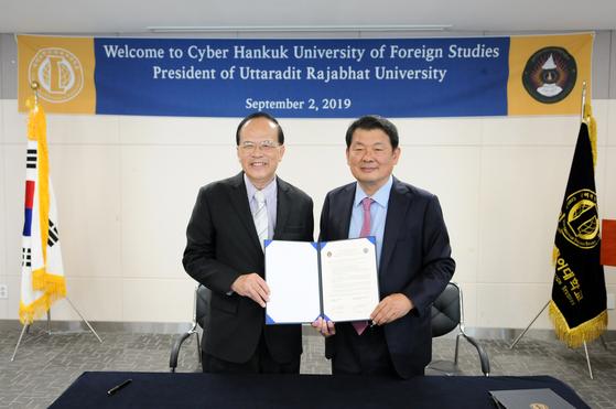 태국 우따라딧라차팟대학교 방문단이 사이버한국외국어대학교를 내방해 양 대학간 국제교류 협약을 체결했다.