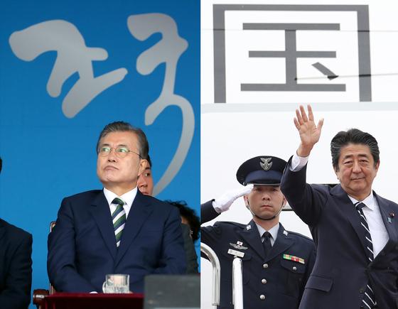 문재인 대통령과 아베 신조 일본 총리간 연내 정상회담 개최가 어려울 것이란 전망이 나오고 있다. [지지통신=연합뉴스]