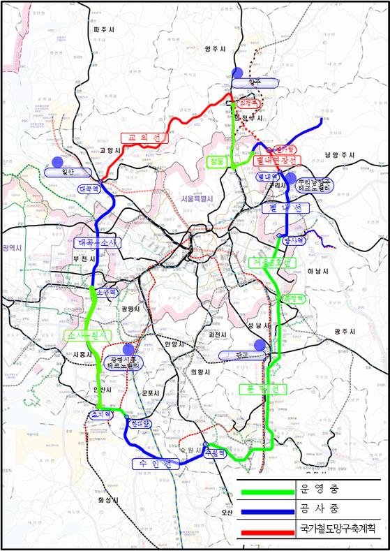 교외선 등 수도권 순환철도망 노선도. [사진 경기도]