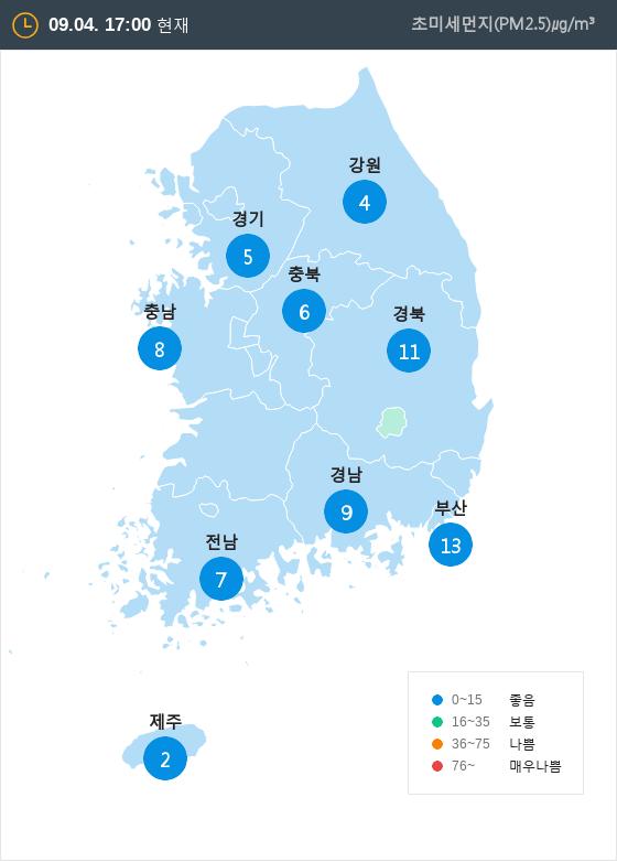 [9월 4일 PM2.5]  오후 5시 전국 초미세먼지 현황