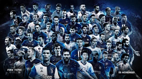 국제축구선수협회가 선정하는 2019 월드 베스트 11 후보 55명. [사진 FIFPro는 공식 홈페이지 캡처]