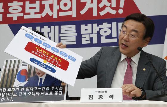 자유한국당 김종석 의원이 3일 오후 국회에서 열린 '조국 후보자의 거짓과 선동, 대국민 고발 언론 간담회'에서 ' 조 후보자의 사모펀드와 관련해 발언하고 있다.[연합뉴스]