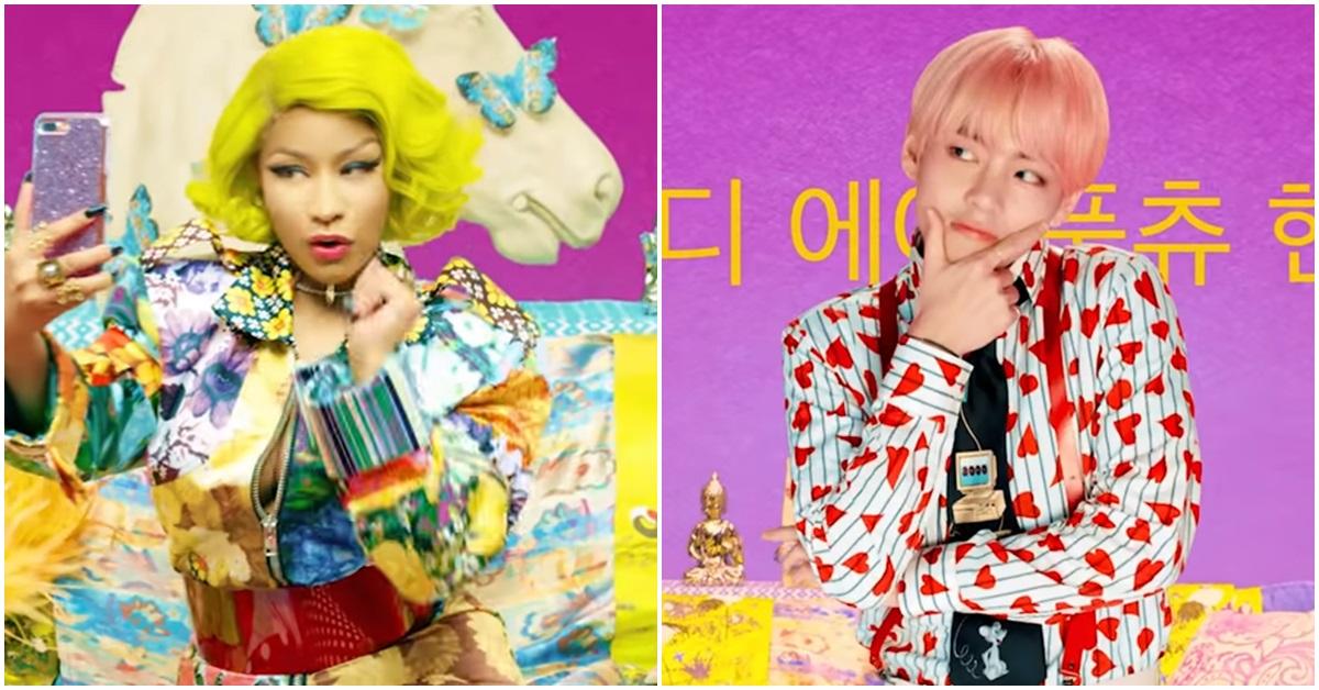 방탄소년단 '아이돌' 뮤직비디오에서 미키 미나즈(왼쪽)와 멤버 뷔. ['아이돌' 뮤직비디오 캡처]