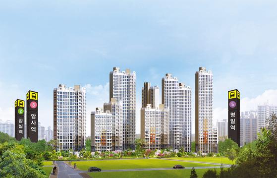 '신강남권'으로 불리는 서울 강동구에서 파격적인 가격에 공급 중인 암사 한강 투시도. 주변에 개발호재도 많아 실수요자는 물론 투자자들의 관심이 크다.