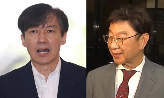 조국 법무부 장관 후보자(왼쪽)와 최성해 동양대 총장. [연합뉴스·뉴스1]