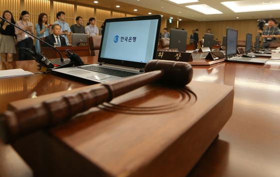 지난 7월 18일 한국은행에서 진행된 금융통화위원회 본회의. [중앙포토]
