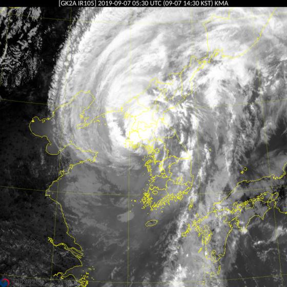 북한 황해도에 상륙한 태풍 링링의 모습 [사진 기상청]