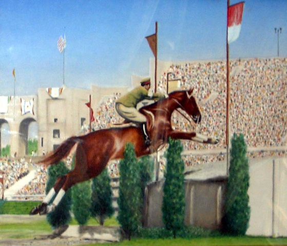 1932년 로스앤젤레스 올림픽 장애물 경주에서 금메달을 딴 니시 다케이치 선수가 애마 우라누스를 몰고 장애물을 넘는 모스2ㅂ을 그린 그림. 니시 선수는 1945년 이오지마 전투에서 전사했다. [위키피디아]