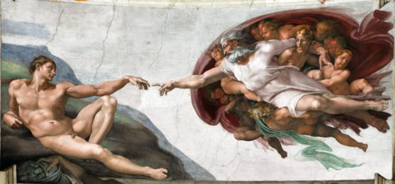 미켈란젤로가 그린 '천지창조' 중 '아담의 창조' [사진 위키피디아]