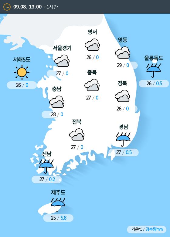 2019년 09월 08일 13시 전국 날씨