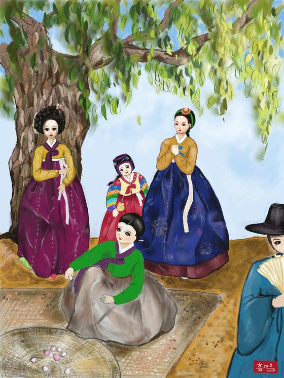 조선시대의 전통옷을 입은 인형들. 갤럭시탭 S3,아트레이지 사용 [그림 홍미옥]