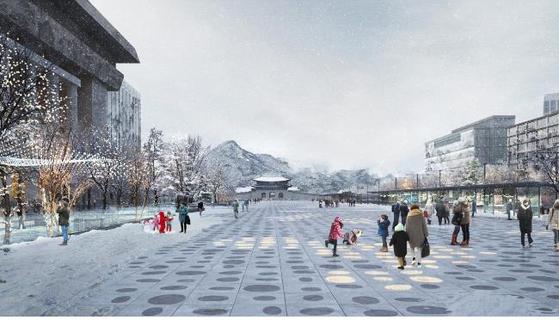 광화문광장 국제설계공모 당선작 '딥 서피스' 투시도. [그래픽 서울시]