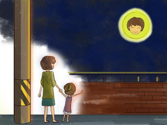 보름달이 뜬 저녁, 딸과 함께 집으로 걸어가는 길이었다. [일러스트 강경남]