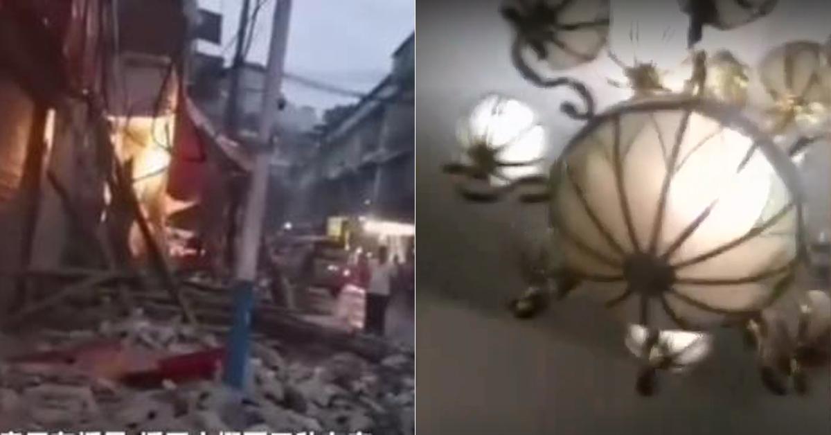 중국 쓰촨성서 8일(현지시간) 5.4 강진 발생해 1명이 숨지고 가옥 수백채가 무너졌다.[신경보 캡처=연합뉴스, 연합뉴스TV]