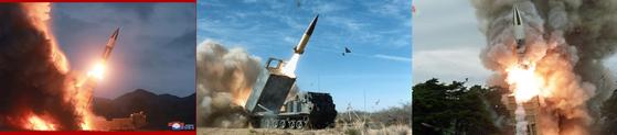 북한이 지난달 10일(왼쪽)과 16일(오른쪽) 시험발사한 '새 무기'. 모양이 미국제 육군 전술미사일시스템(ATACMSㆍ에이태큼스)와 닮았다. [사진 미 육군, 노동신문, 조선중앙통신]