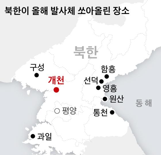북한이 올해 발사체 쏘아올린 장소. 그래픽=박경민 기자 minn@joongang.co.kr